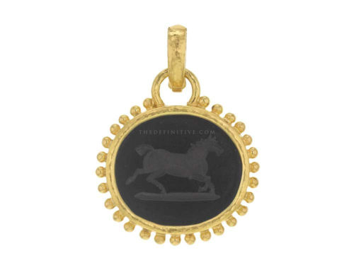 "Elizabeth Locke Onyx Oval ""Running Horse"" Pendant with Granulation on Bezel and Hinged Bale"