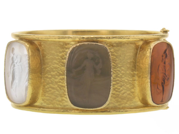 "Elizabeth Locke Wide Venetian Glass Intaglio ""Muse"" Bangle In Neutral Colors thumbnail"