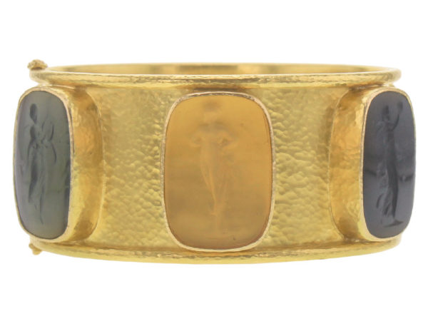 "Elizabeth Locke Wide Venetian Glass Intaglio ""Muse"" Bangle In Neutral Colors model shot #3"