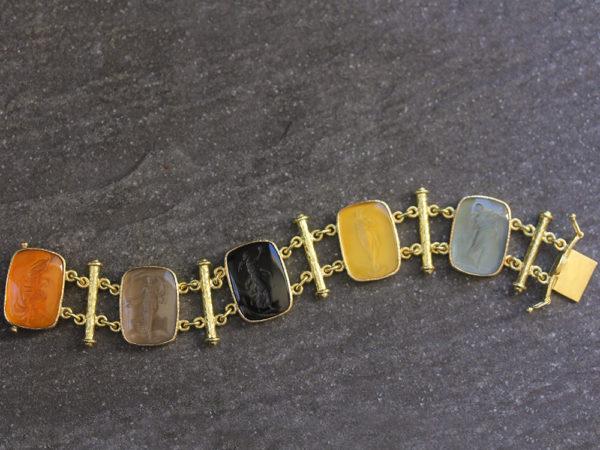 """Elizabeth Locke Venetian Glass Intaglio """"Muse"""" Bracelet model shot #3"""