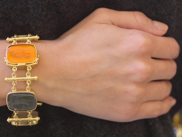"""Elizabeth Locke Venetian Glass Intaglio """"Muse"""" Bracelet model shot #2"""
