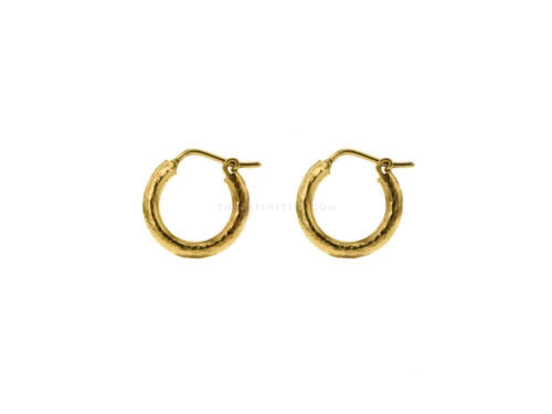Elizabeth Locke Big Baby Hammered Hoops, 16mm