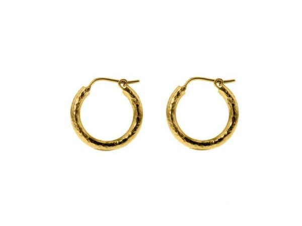 Elizabeth Locke Small Hammered Hoops, 20mm thumbnail