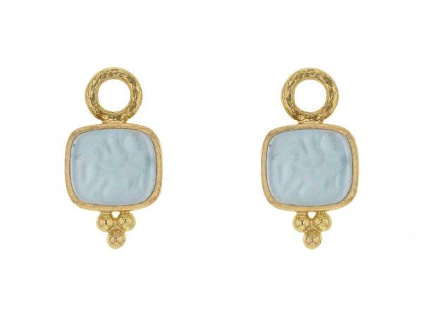"Elizabeth Locke Light Aqua Venetian Glass Intaglio ""Pegasus, Goddess, & Moon"" Earring Charms thumbnail"
