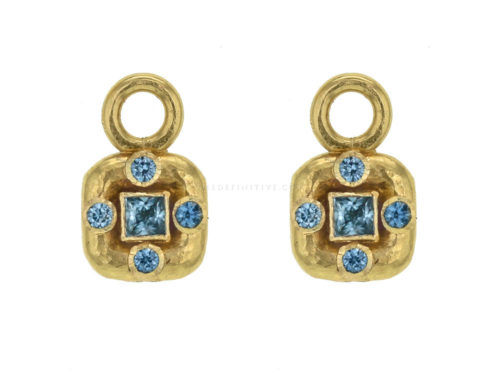Elizabeth Locke Square  and Round Faceted Blue Zircon Earring Charms
