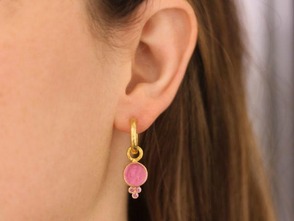"Elizabeth Locke Venetian Glass Intaglio ""Round Cupid"" With Bottom Faceted Pink Spinel Triad"
