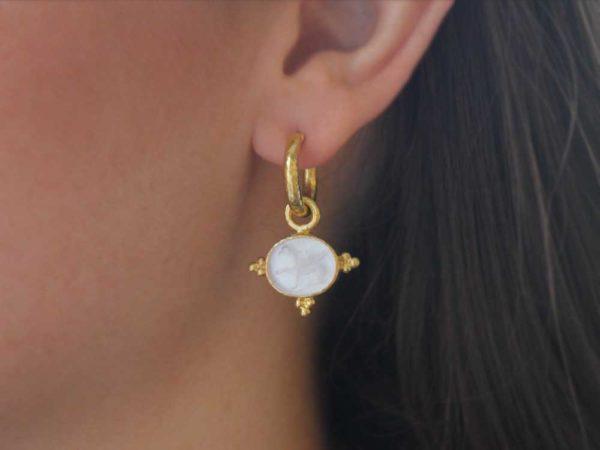 "Elizabeth Locke Crystal Venetian Glass Intaglio ""Grifo"" Earring Charms With Three Gold Triads On Thin Bezel"