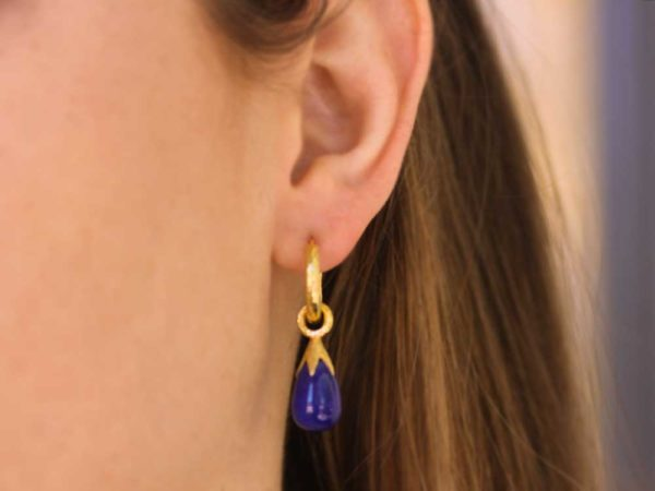 Elizabeth Locke Lapis Drops With Eggplant Cap Earring Charms