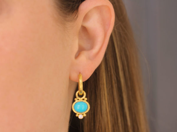 Elizabeth Locke Oval Turquoise and Diamond Earring Charms