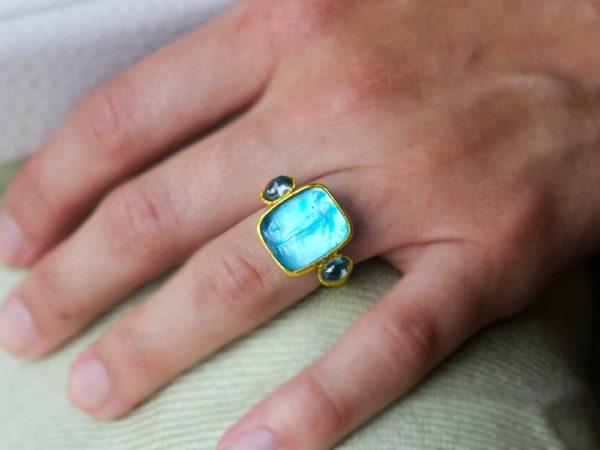 "Elizabeth Locke Teal Venetian Glass Intaglio ""Greek Muse"" Cabochon Zircon Ring"