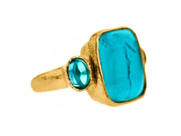 "Elizabeth Locke Teal Venetian Glass Intaglio ""Greek Muse"" Cabochon Zircon Ring model shot #2"