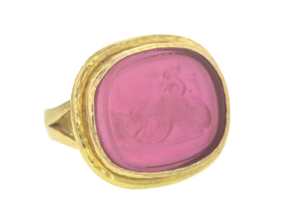 "Elizabeth Locke Ventian Glass Intaglio ""Cupid Riding Bear"" Ring model shot #2"