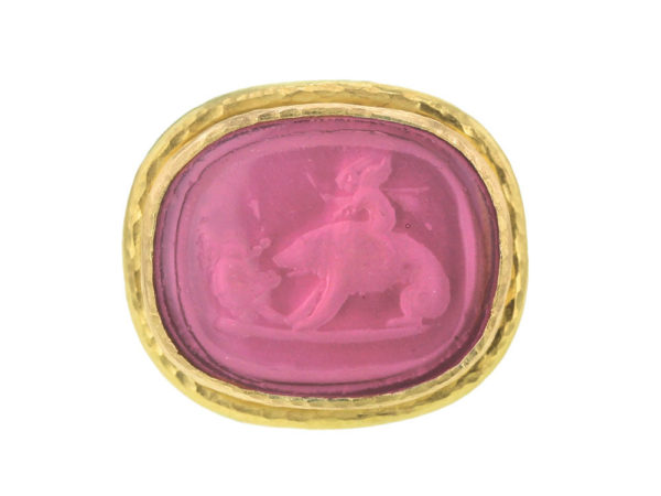 "Elizabeth Locke Ventian Glass Intaglio ""Cupid Riding Bear"" Ring thumbnail"