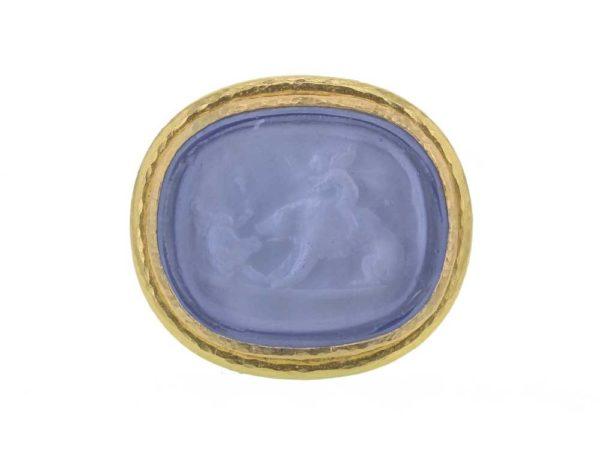 "Elizabeth Locke Venetian Glass Intaglio ""Cupid Riding Bear"" Ring With Godron And Split Shank thumbnail"