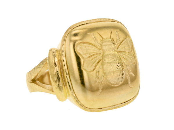 Elizabeth Locke Gold Cushion Fat Bee Ring model shot #2