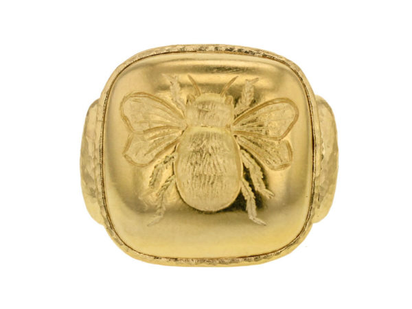 Elizabeth Locke Gold Cushion Fat Bee Ring thumbnail