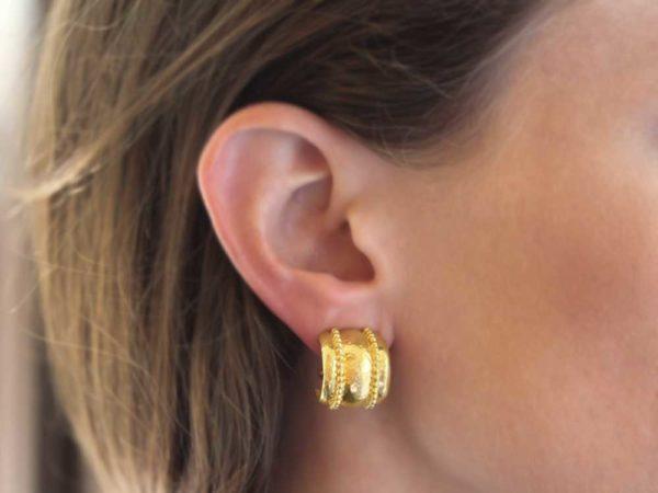 Elizabeth Locke Granulated Amalfi Hoop Earrings