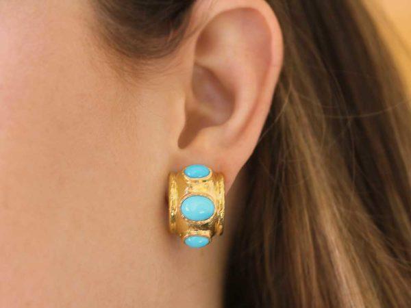 Elizabeth Locke Puffy Turquoise Hoop Earrings