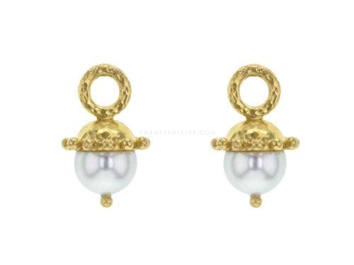 Elizabeth Locke White Pearl Earring Charms With Granulated Cap