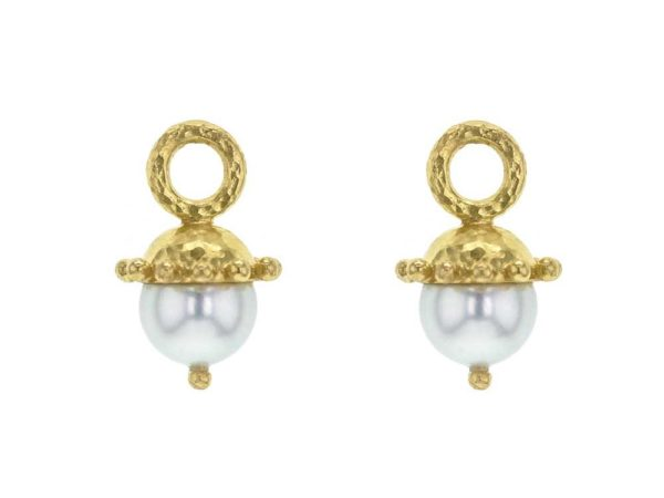 Elizabeth Locke White Pearl Earring Charms With Granulated Cap thumbnail