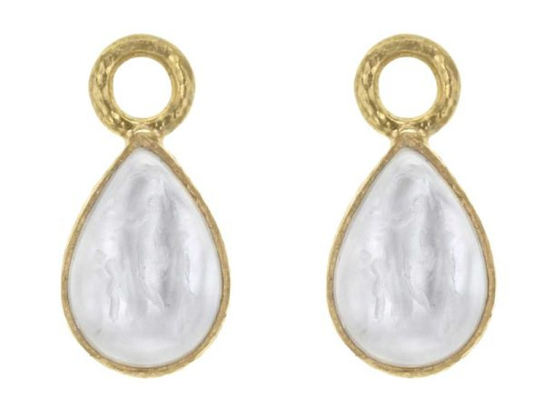 "Elizabeth Locke Crystal Venetian Glass Intaglio ""Small Pear Shape"" Earring Charms For Hoops thumbnail"