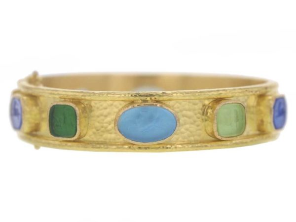 "Elizabeth Locke Wide Venetian Glass Intaglio ""Chimera Quadrato"" & ""Flying Pegasus"" Bracelet thumbnail"