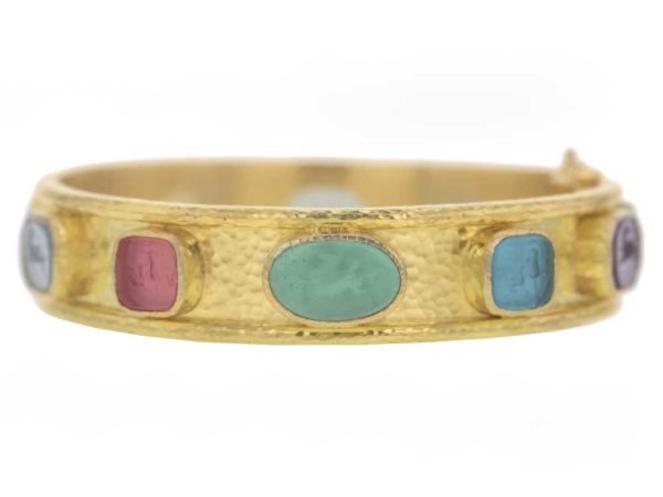 "Elizabeth Locke Wide Venetian Glass Intaglio ""Chimera Quadrato"" & ""Flying Pegasus"" Bracelet model shot #3"