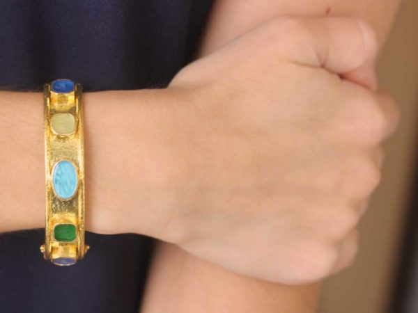 "Elizabeth Locke Wide Venetian Glass Intaglio ""Chimera Quadrato"" & ""Flying Pegasus"" Bracelet"