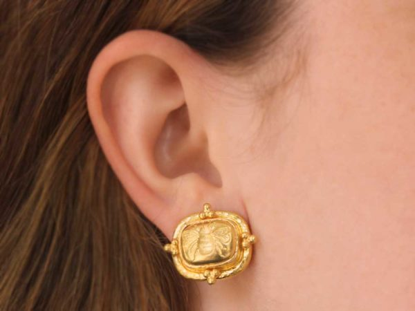 "Elizabeth Locke Triad Cushion ""Fat Bee"" Earrings"