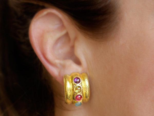 """Elizabeth Locke Pastel Stone Studded """"Tutti Fruitti"""" Amalfi Wide Hoop Earrings model shot #3"""