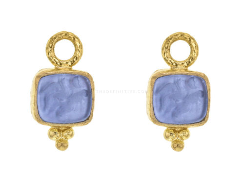 "Elizabeth Locke Cerulean Venetian Glass Intaglio ""Pegasus, Goddess and Moon"" Earring Charms"