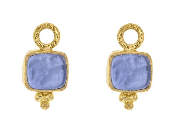 "Elizabeth Locke Cerulean Venetian Glass Intaglio ""Pegasus, Goddess and Moon"" Earring Charms thumbnail"