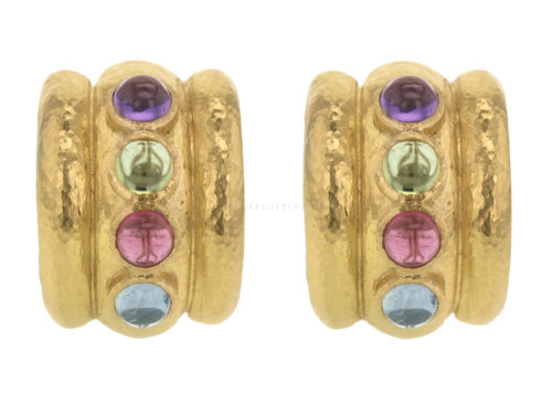 "Elizabeth Locke Pastel Stone Studded ""Tutti Fruitti"" Amalfi Wide Hoop Earrings"