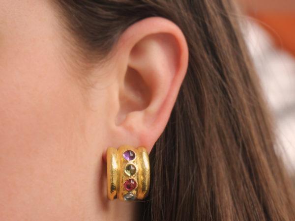 """Elizabeth Locke Pastel Stone Studded """"Tutti Fruitti"""" Amalfi Wide Hoop Earrings"""
