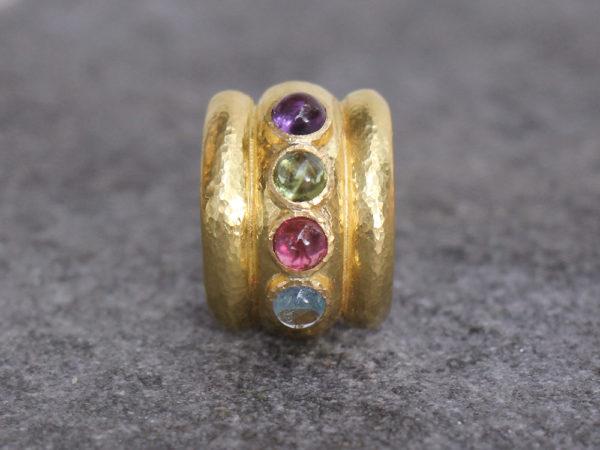 """Elizabeth Locke Pastel Stone Studded """"Tutti Fruitti"""" Amalfi Wide Hoop Earrings model shot #2"""
