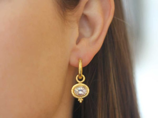 Elizabeth Locke Horizontal Oval Faceted Moonstone With Gold Dot Triad Earring Charms For Hoops