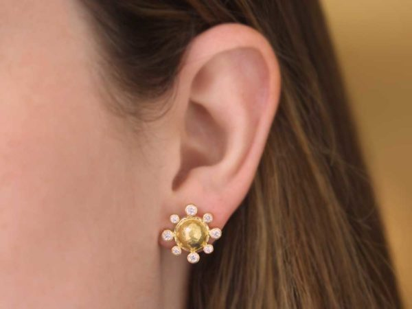 Elizabeth Locke Hammered Gold Studs Each With Surrounding Diamonds and Butterfly Back