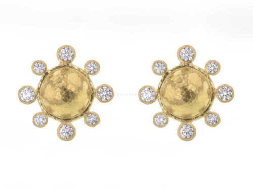 Elizabeth Locke Hammered Gold Studs Each With Four Diamonds & Four Diamonds Surround With Butterfly Back