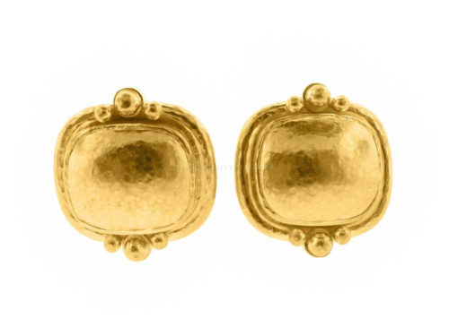 Elizabeth Locke Gold Cushion Granulation Trio Earrings