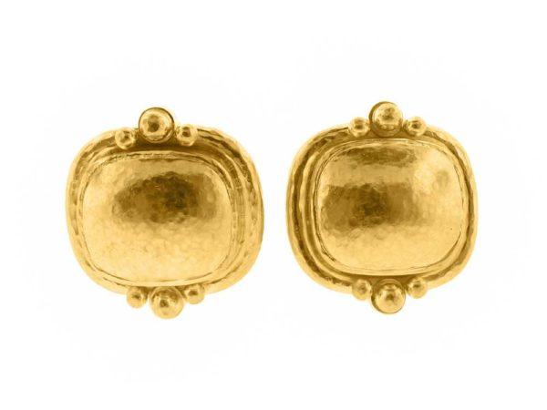 Elizabeth Locke Gold Cushion Granulation Trio Earrings thumbnail