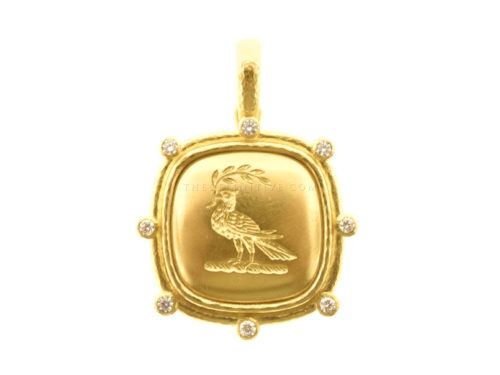 "Elizabeth Locke Gold ""Dove With Branch"" With Diamond Halo & Thin Hinged Bale"