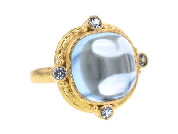 Elizabeth Locke Square Cushion Cabochon Aquamarine Ring thumbnail