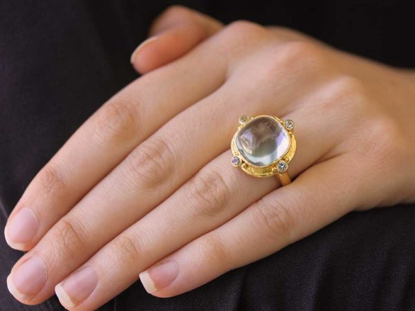 Elizabeth Locke Square Cushion Cabochon Aquamarine Ring