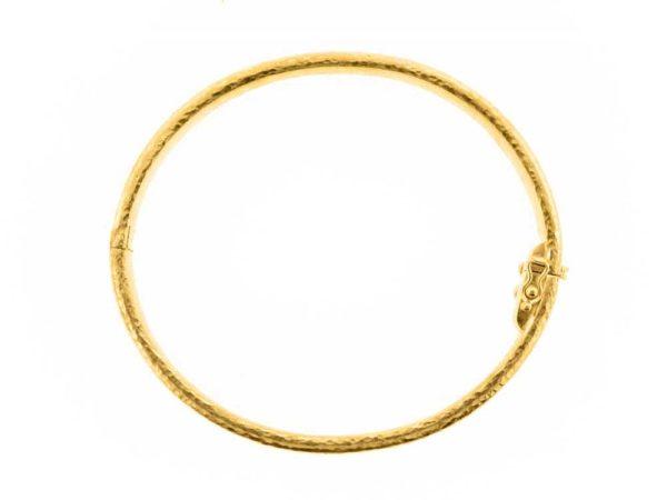 Elizabeth Locke Thin Bangle Bracelet with Sets of Large and Small Gold Dots model shot #2