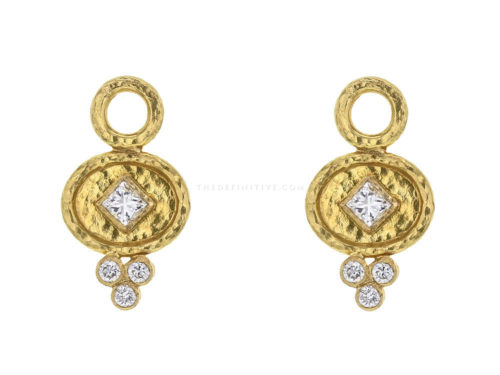 Elizabeth Locke Horizontal Oval Disk Hoop Diamond Earring Charms