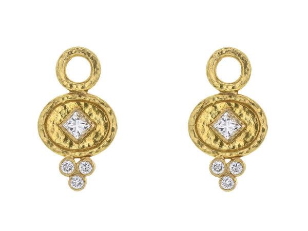 Elizabeth Locke Horizontal Oval Disk Hoop Diamond Earring Charms thumbnail