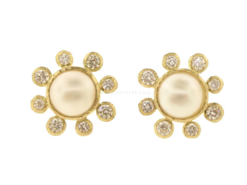 Elizabeth Locke Akoya Pearl With Diamond Halo & Butterfly Backs