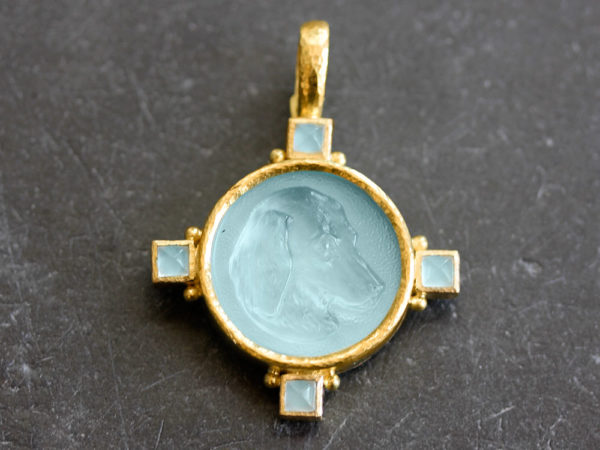 "Elizabeth Locke Light Aqua Venetian Glass Intaglio ""Hound Head"" Pendant model shot #2"