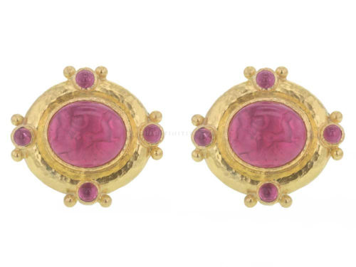 "Elizabeth Locke Pink Venetian Glass Intaglio ""Cab Quadriga"" & Cabochon Pink Tourmaline Post Earrings"