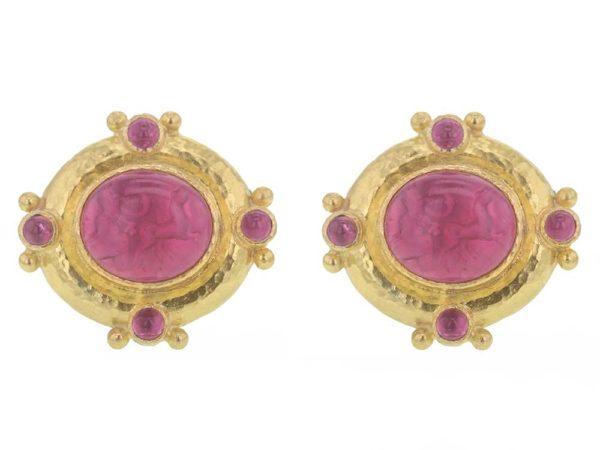 "Elizabeth Locke Pink Venetian Glass Intaglio ""Cab Quadriga"" & Cabochon Pink Tourmaline Post Earrings thumbnail"